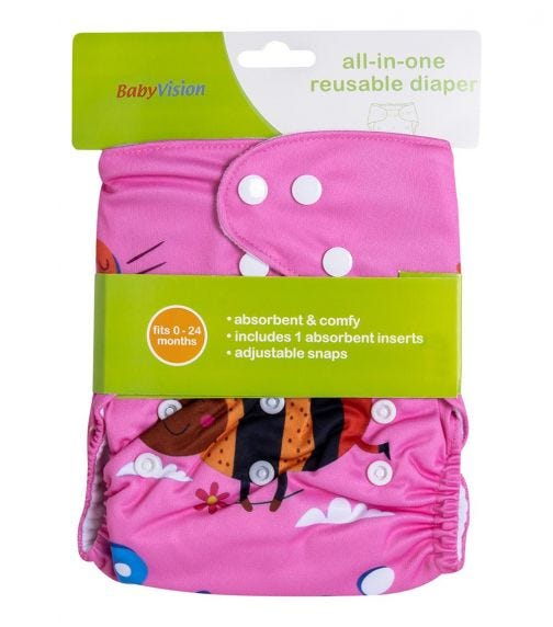 BABY VISION Reusable Diaper All-In-One -Red Bug Printed
