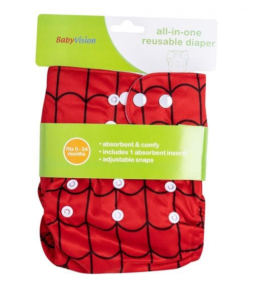 BABY VISION Reusable Diaper All-In-One - Spider Printed