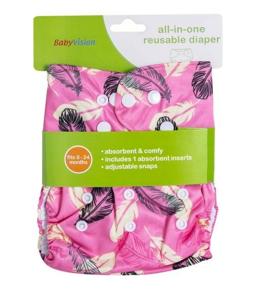 BABY VISION Reusable Diaper All-In-One - Pink Feathers Printed