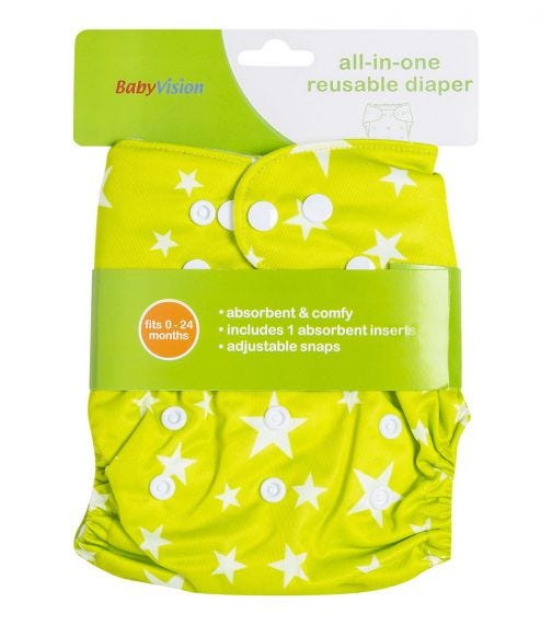 BABY VISION Reusable Diaper All-In-One - White Star Printed In Green