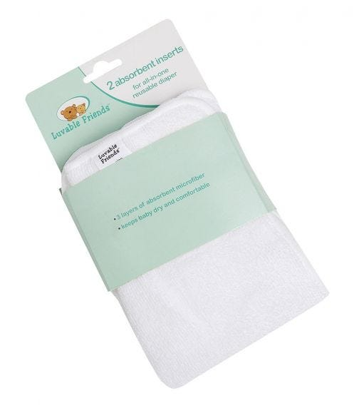 LUVABLE FRIENDS Absorbent Insert For Reusable Diapers (2-Pack)