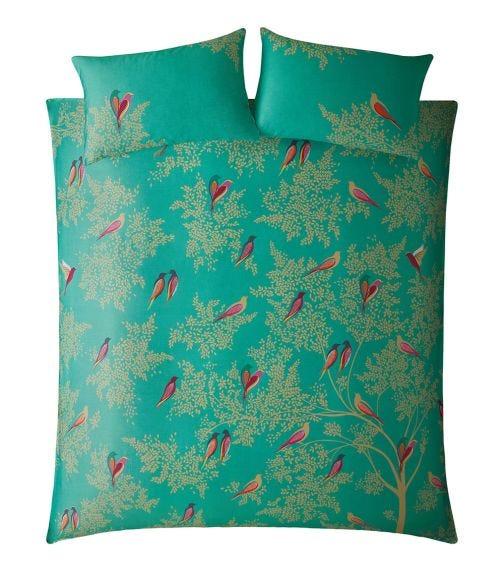 SARA MILLER Green Birds Print King Quilt Set (230x220cm)