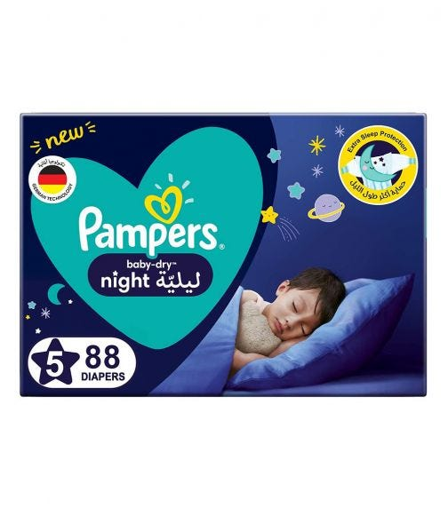 PAMPERS Baby-Dry Night Diapers - Size 5, 12-17 KG - 88 Pieces