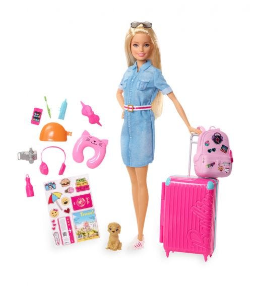BARBIE Doll And Accessories Travel Lead Doll