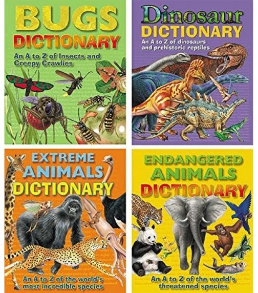 ALLIGATOR Set Of 4 A To Z Dictionary Of Extreme Animals, Dinosaur, Endangered Animals, Bugs