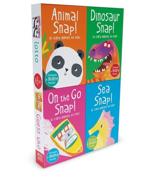 MILES KELLY Card Games 4 Pack Set: Animal, Dinosaur, On The Go And Sea