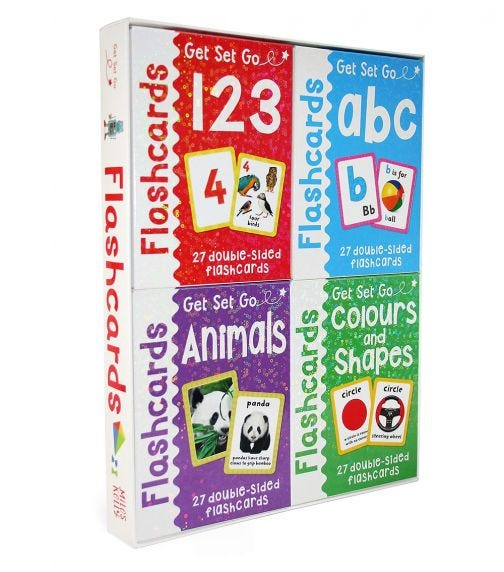 MILES KELLY Flashcards 4 Piece Pack - ABC, 123, Animals, Colors, Shapes