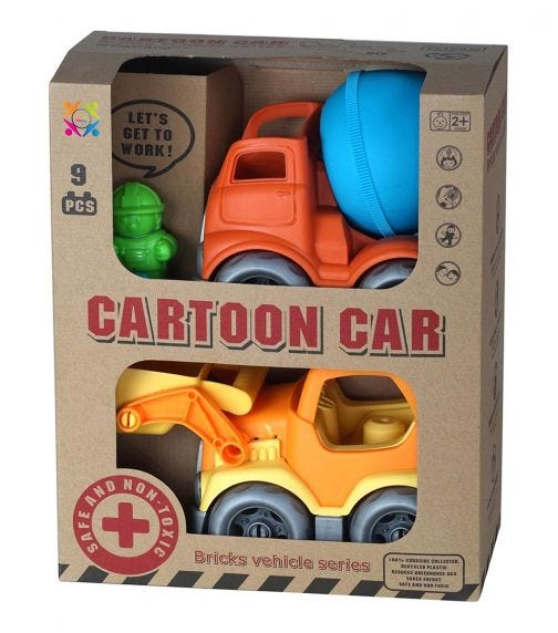 ROLL UP KIDS Eco Friendly Cartoon Car Double Pack Bricks Vehicle