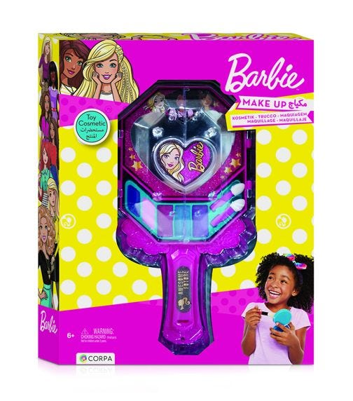 BARBIE Hand Mirror With Cosmetics In A Box