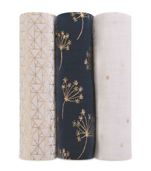 ADEN + ANAIS Classic Metallic 3 Pack Swaddles - Gold Deco