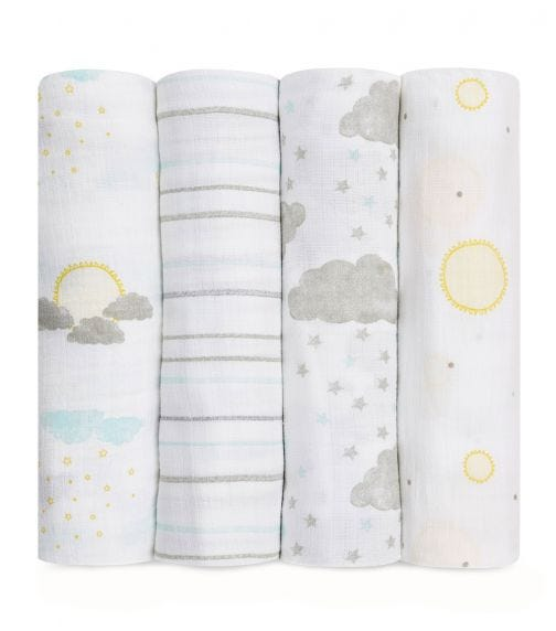 ADEN + ANAIS Essentials 4-Pack Muslin Swaddles - Partly Sunny