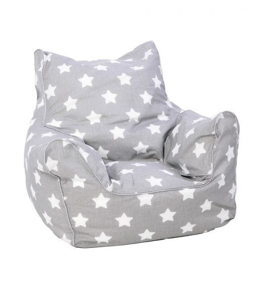 DELSIT Bean Chair - Grey with White Stars