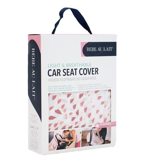 BEBE AU LAIT Rose Quartz Muslin Car Seat Cover