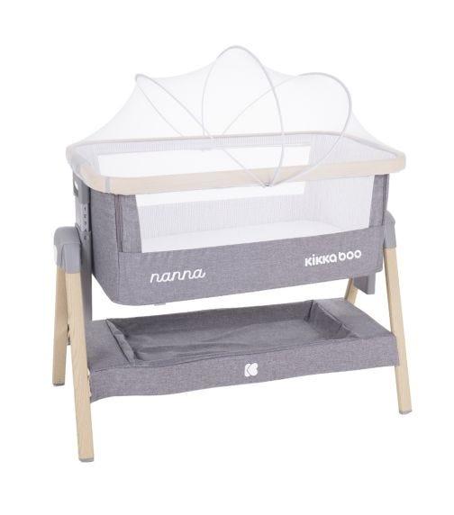 KIKKABOO Bedside Crib Nanna Dark Grey Melange Wood 2020
