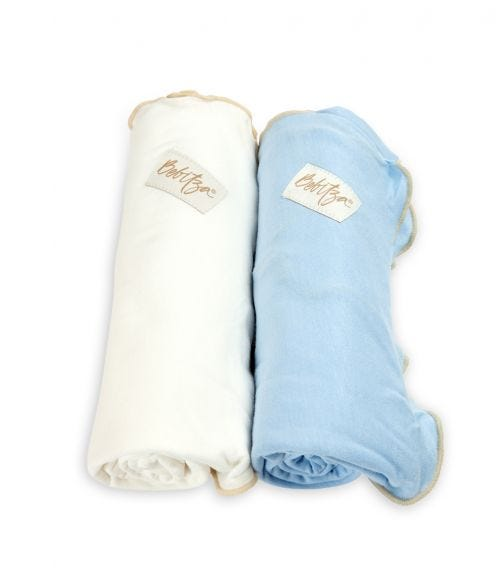 BEBITZA Antibacterial Baby Wraps 2 Pack Blue/White