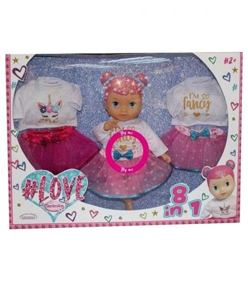 DIMIAN Love Girl Doll Set 8 In 1 With Glitter Head