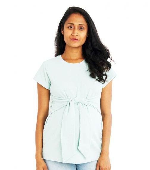 A PEA IN THE POD Crepe Tie Waist Top