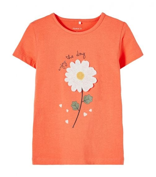 NAME IT Baby Girl Short-Sleeved T-Shirt With Daisy