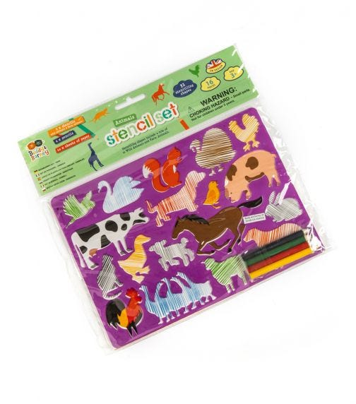 BUDDY & BARNEY Stencil Double Pack With Pencils Animals