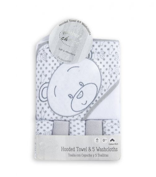 MOTHER'S CHOICE Baby Hooded Towel + 5 Face Cloths