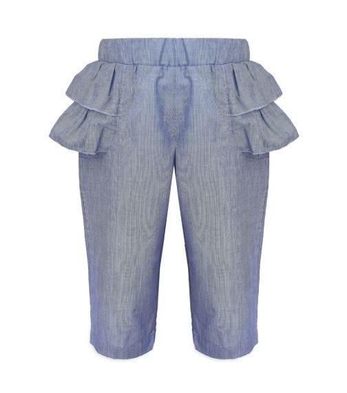 CHOUPETTE Volant Decorated Soft Denim Pants