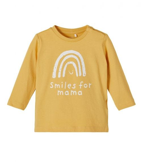 NAME IT Baby Girl Smiles For Mama Printed Long-Sleeved T-Shirt