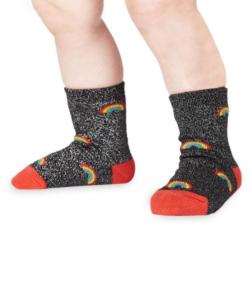 SOCK IT TO ME Toddler Crew - Glitter Over The Rainbow (Lurex)
