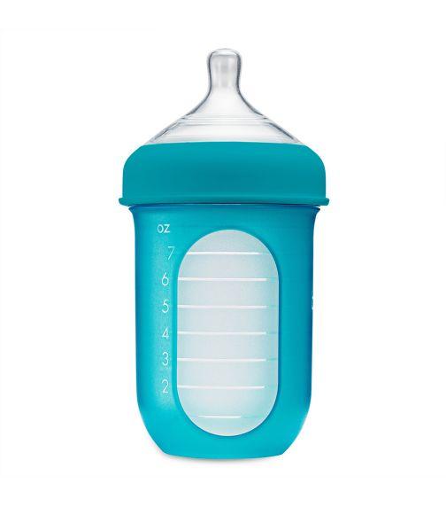 BOON Nursh Silicone Bottle 8Oz Blue