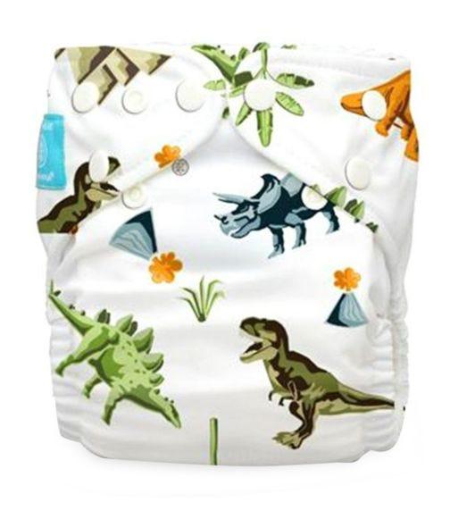 CHARLIE BANANA 1 Diaper + 2 Inserts (One Size) Hybrid - Dinosaurs