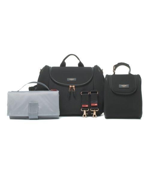 STORKSAK Poppy Luxe Diaper Bag - Black Scuba