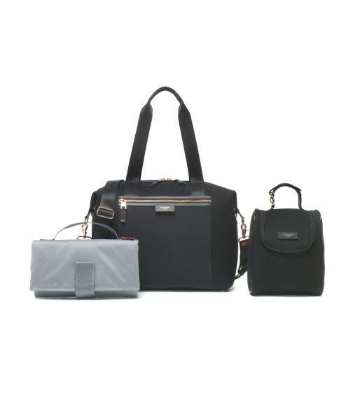 STORKSAK Stevie Luxe Diaper Bag - Black Scuba