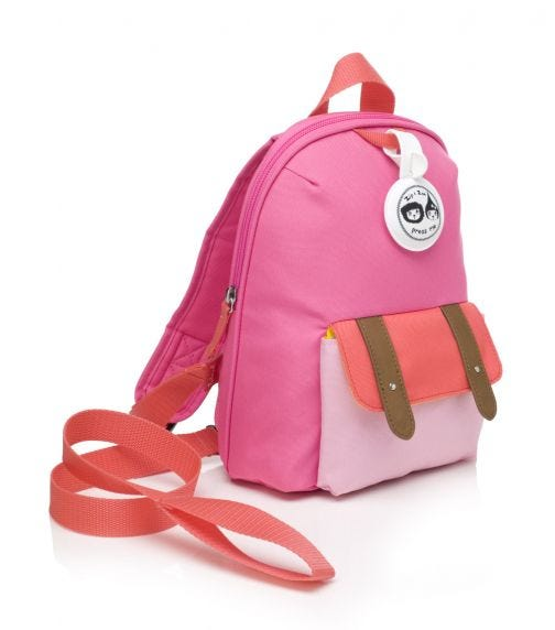 ZIP & ZOE Mini Backpack+ Safety Harness (1-4Y) Hot Pink Color Block