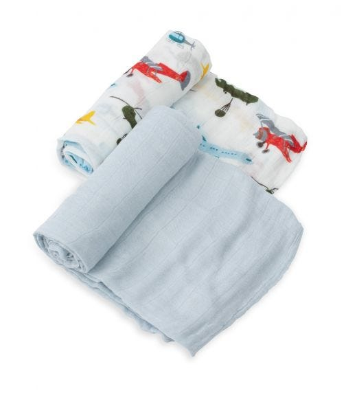 LITTLE UNICORN 2 Pack Deluxe Muslin Swaddle Set - Air Show