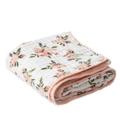 LITTLE UNICORN Cotton Muslin Quilt - Watercolor Roses