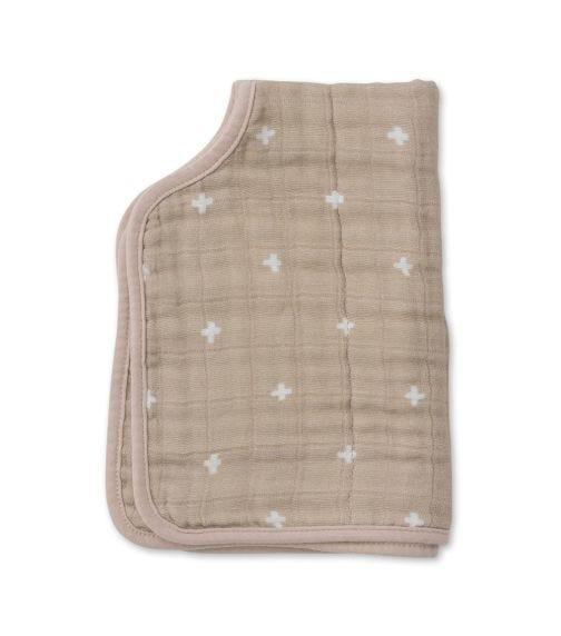 LITTLE UNICORN Cotton Muslin Burp Cloth - Taupe Cross