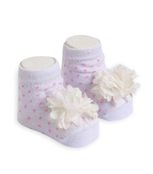 OLAY SOCKS Baby Socks - White Tulle Flower