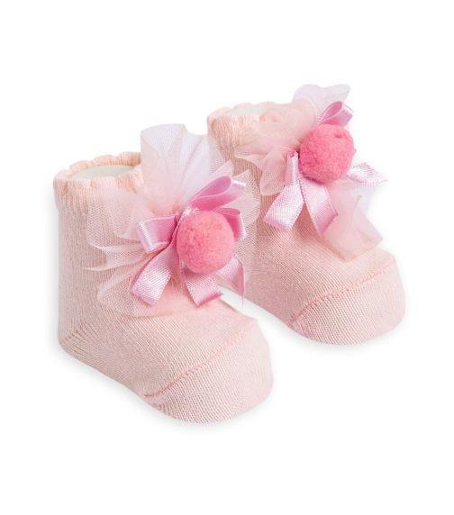 OLAY SOCKS Baby Socks - Pink Tulle and Ribboned Pom