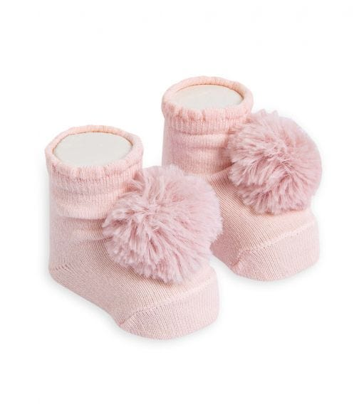 OLAY SOCKS Baby Socks - Pink Fluffy Pom Pom
