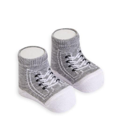 OLAY SOCKS Baby Socks - Grey Converse Shoelace