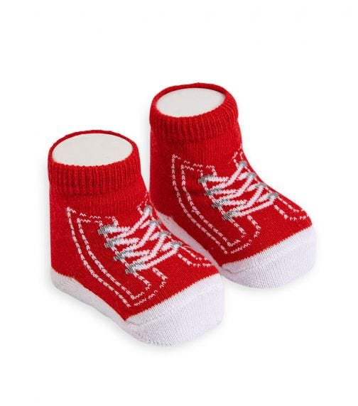 OLAY SOCKS Baby Socks - Red Converse Shoelace