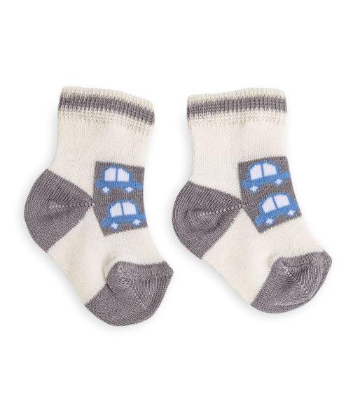 OLAY SOCKS Baby Socks - Cream With Cars