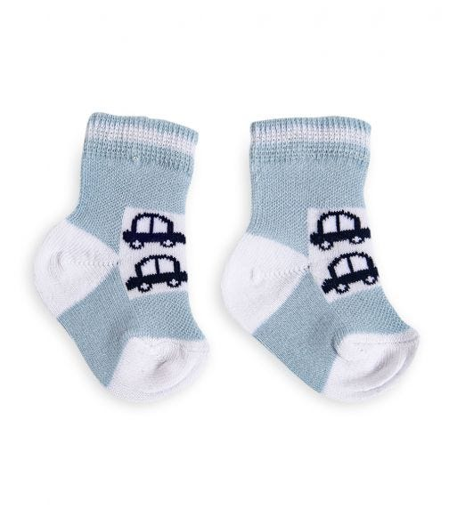 OLAY SOCKS Baby Socks - Blue With Cars