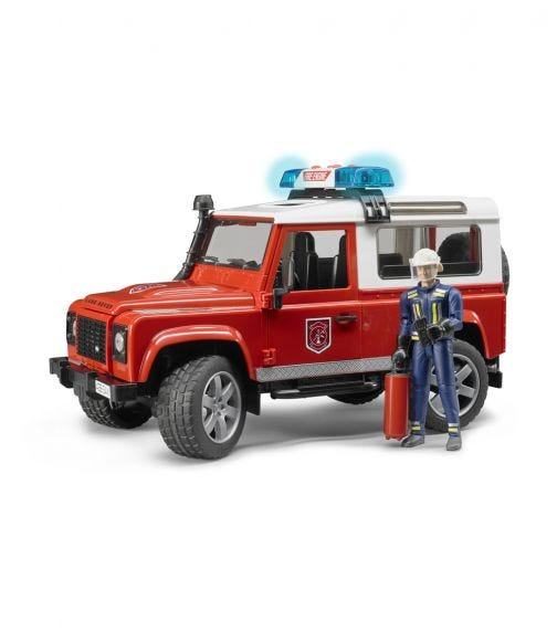 BRUDER Land Rover Defender Station Wagon Fire Department Vehicle With Fireman