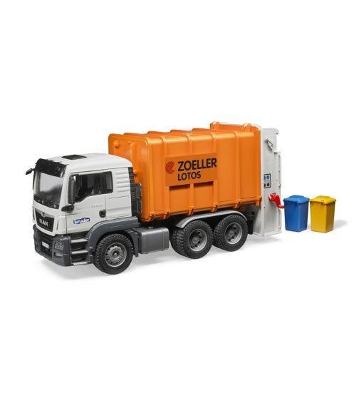 BRUDER Man TGS Rear Loading Garbage Truck Orange
