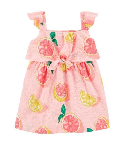 CARTER'S Grapefruit Crinkle Jersey Dress