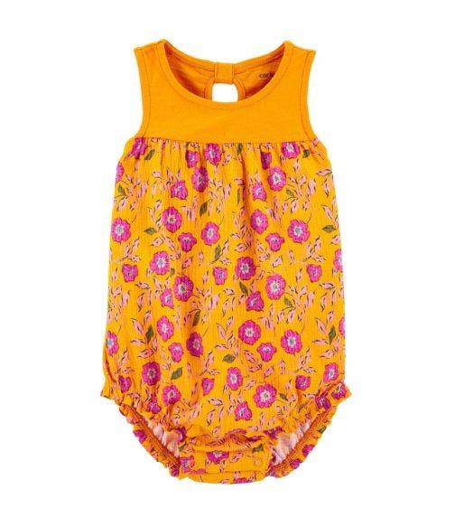 CARTER'S Floral Crinkle Jersey Bodysuit