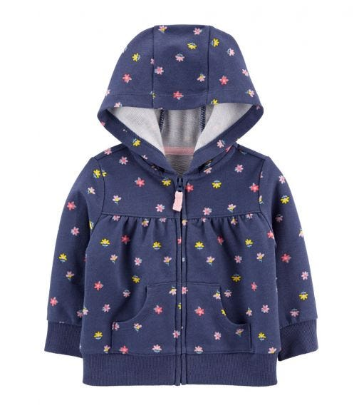 CARTER'S Floral Zip-Up French Terry Hoodie