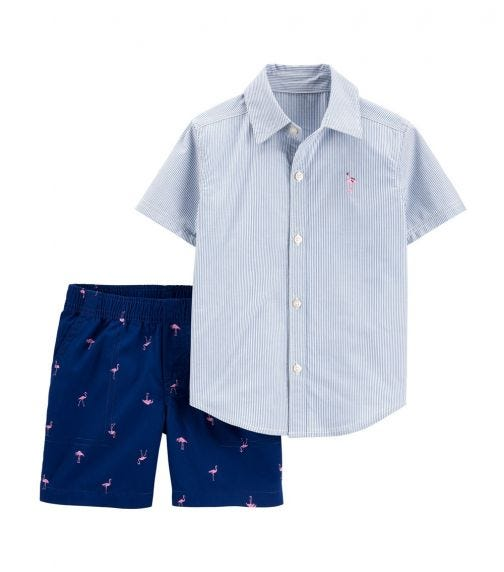CARTER'S 2-Piece Striped Button-Front Shirt & Flamingo Short Set