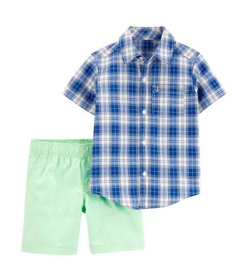 CARTER'S 2-PiecePlaid Button-Front Shirt & Poplin Short Set