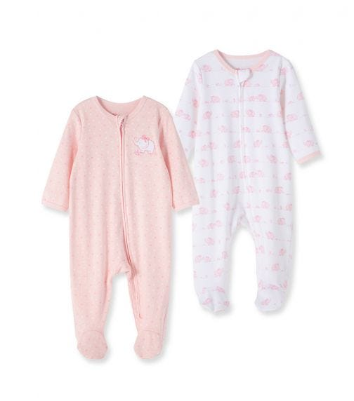 LITTLE ME 2-Pack Romper With Footie